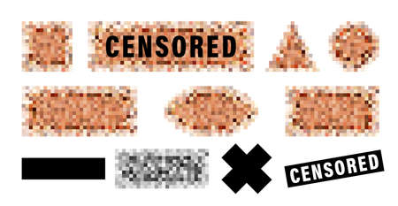 Censorship elements set, censored bar and pixel censor mosaics signs set, censure pixelation effect and blur, templates for photo, app, tv and visual materials censoring. Sensitive adult content cover.  イラスト・ベクター素材