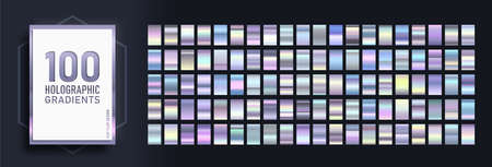 Mega set of Trendy gradients, consisting of collection 100 holographic glossy rectangles. Abstract Template for Social Media Design. Rainbow gradient