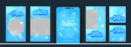 Awesome Stories set for social media with convex sale word for New post. Amazing blue banner for winter sale and discounts.