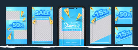 Awesome Stories set for social media with convex sale word and golden cones for New post. Amazing blue banner for sale and discount.