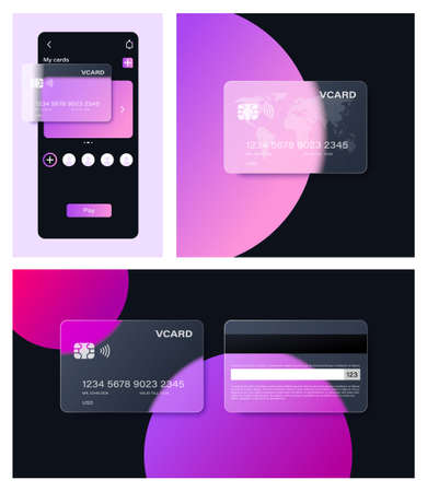 Glassmorphism bank card in popular Frosted Glass style. For banners, websites, apps and other modern ui design projects. Created from blend and easy to change color. 矢量图像