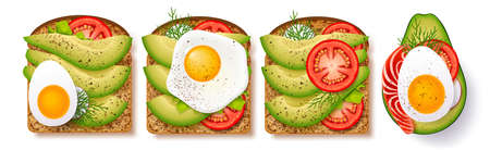 Big set toasts with fresh slices of ripe avocado, seasoning and dill, tomato, fried egg and red fish. Delicious avocado sandwich. 矢量图像