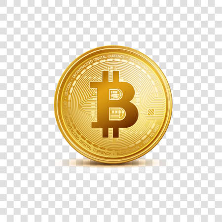 Realistic virtual golden bitcoin coin. Crypto currency golden coin bitcoin symbol isolated on transparent background.