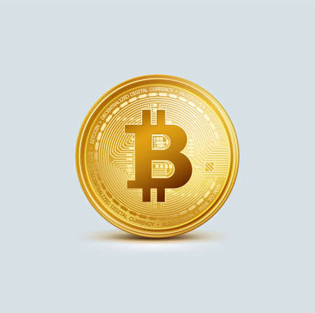 Realistic virtual golden bitcoin coin. Crypto currency golden coin bitcoin symbol isolated on gray background.