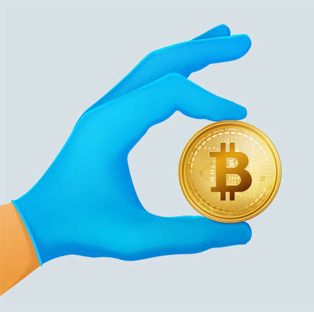 Hand in a blue disposable Nitrile Glove holding realistic virtual big golden bitcoin coin.