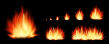 Set of realistic fire elements from the smallest fire to a huge bonfire isolated on black background. Vector set flame and bonfire.
