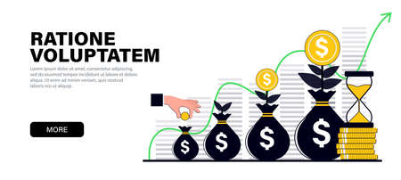 Concept in modern flat black colors for website and mobile website development on the topic capital growth, Financial investments or money savings, growing up capital.