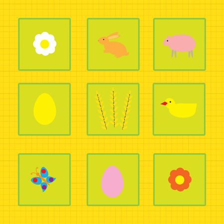 colorful background with chick and font, cartoon Vector