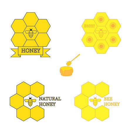 flower clip art: Colorful set of labels for honey products Illustration
