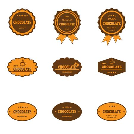choco: Set of retro chocolate labels and logos