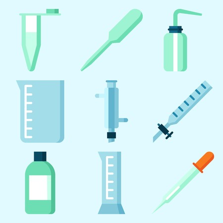 Icons set about Laboratory with kipps apparatus, cylinder, desiccator, condenser, dropping liquid and beaker