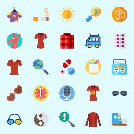 Icons set about Hippies with microphone, yin-yang, cigarete, om, pills and van
