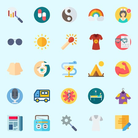 Icons set about Hippies with yin-yang, microphone, newspaper, note, search and nurse