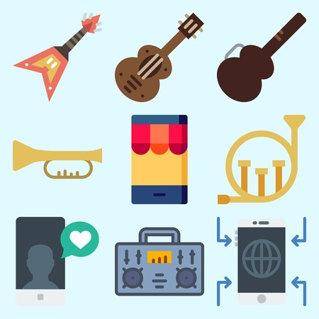 Icons set about Music with smartphone, radio, spanish guitar, guitar protector, electric guitar and french horn