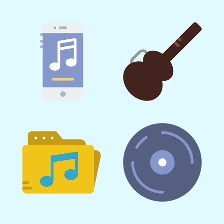 Icons set about Music with music player, guitar protector, music folder, cd and compact disc