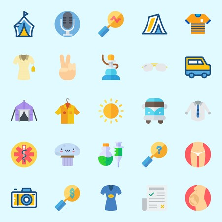 Icons set about Hippies with tent, victory, sunglasses, shisha, search and pipe