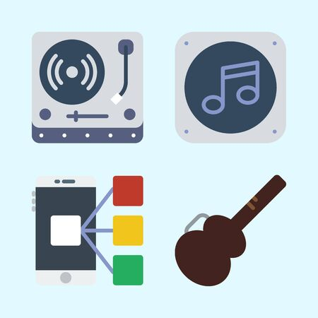 Icons set about Music with guitar protector, smartphone, turntable and music file