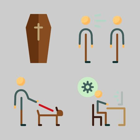 Icons set about Human with coffin, scream, responsibility and programmer