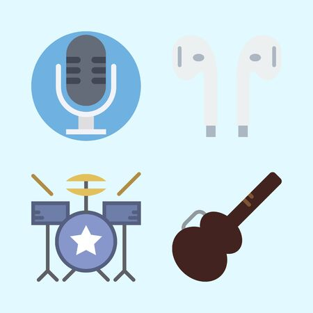 Icons set about Music with drum set, microphone, earphones and guitar protector