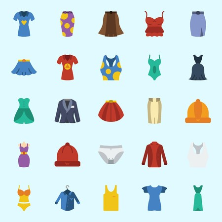 Icons set about Women Clothes with suit, sleeveless, tank top, shirt, skirt and panties