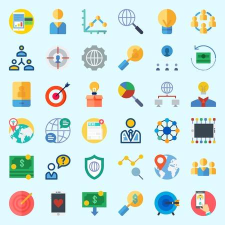 Icons set about Marketing with networking, settings, location, internet, line chart and worldwide