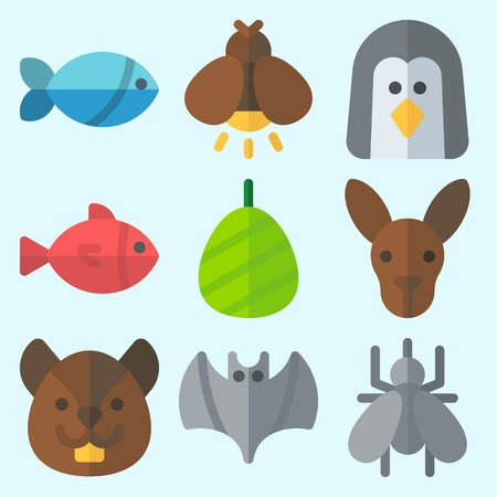 Icons set about Animals with cocoon, squirrel, firefly, bat, mosquito and kangaroo Çizim