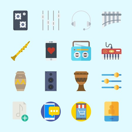 Icons about Music with panpipe, drum, speaker, announcer, levels and oboe