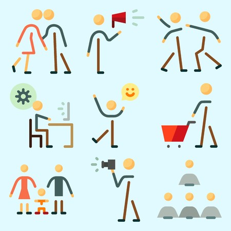 Icons set about Human with happiness, programmer, child, protest, shopping and humans Illustration
