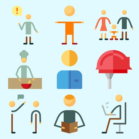 수석, 남성, 분리, 작업자, 어린이 및 밥솥과 인간에 대해 설정 아이콘