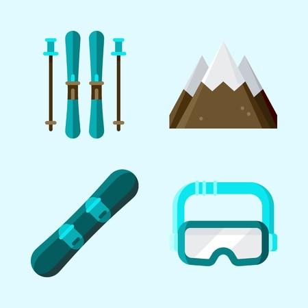 Pictogrammen ingesteld over de winter met bril, ski, snowboard en berg