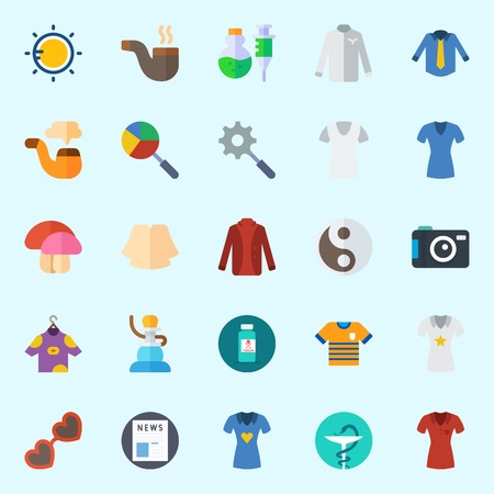Icons set about Hippies with shisha, pipe, shirt, pharmacy, sun and yin-yang