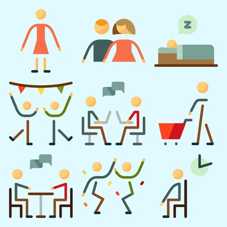 Icons set about Human with men, waiting room, dialogue, female, sleeping and chating Иллюстрация