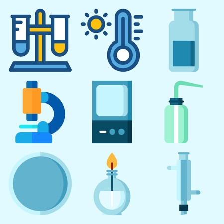 Icons set about Laboratory with test tube, gas jar, thermometer, watch glass, burner and microscope