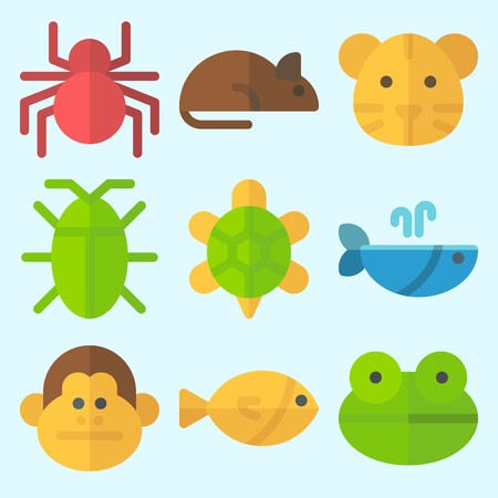 Icons set about Animals with whale, monkey, tiger, rat, turtle and spider