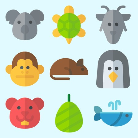 Icons set about Animals with koala, cocoon, turtle, whale, goat and hamster Illustration