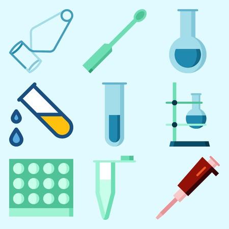 液体、セパレータ漏斗、鍋、フラスコ、試験管および測定を落とす実験室について設定されるアイコン