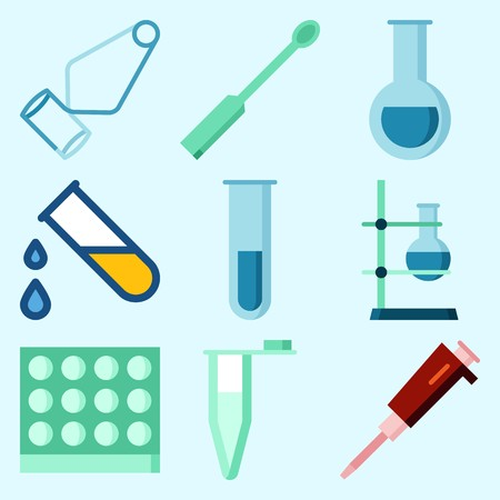 Icons set about Laboratory with dropping liquid, separator funnel, ladle, flask, test tube and measuring