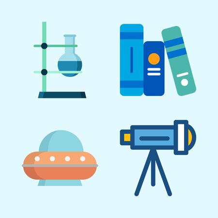 Icons about Science with book, flask, ufo, telescope and books