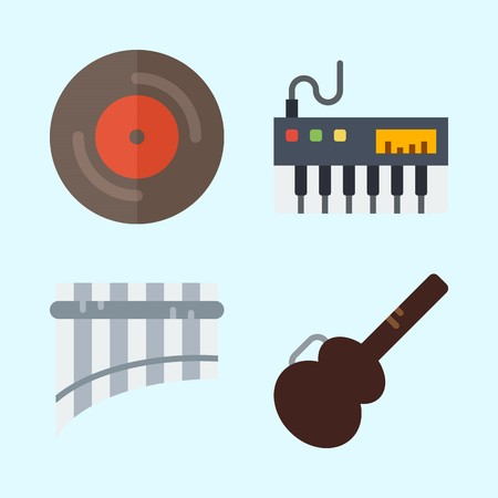 Icons set about Music with piano, panpipe, guitar protector and vinyl