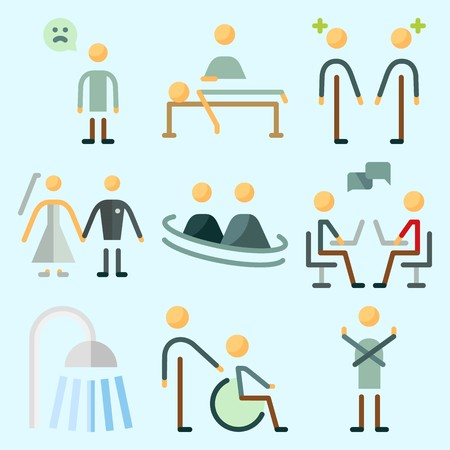 Icons set about Human with dancer, dialogue, shower, disable, chatting and sad man