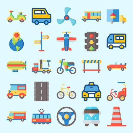 Icons set about Transportation with direction sing, road, sport  car, steering wheel, car and destination Ilustração
