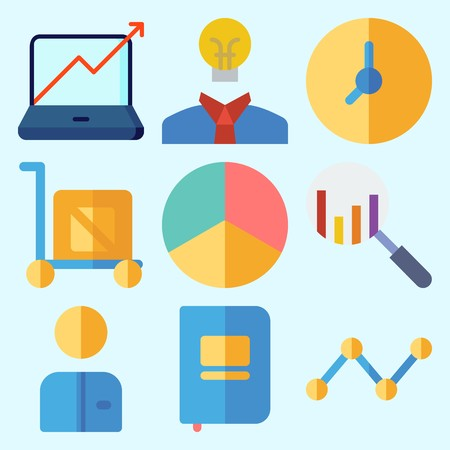 Icons set about Business with idea, search, line graph, worker, stats and pie chart