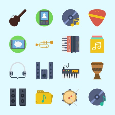 Icons about Music with guitar pick, announcer, sound system, drum, speaker and accordion