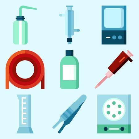 シリンダー、瓶、乾燥器、実験室、凝縮器および測定が付いている実験室についてセットされるアイコン