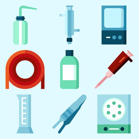Icons set about Laboratory with cylinder, jar, desiccator, laboratory, condenser and measuring