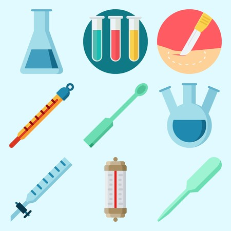 Icons set about Laboratory with dropper, test tube, thermometer, kipps apparatus, ladle and surgery