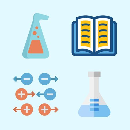 Icons about Science with gravity, open book and flask 向量圖像