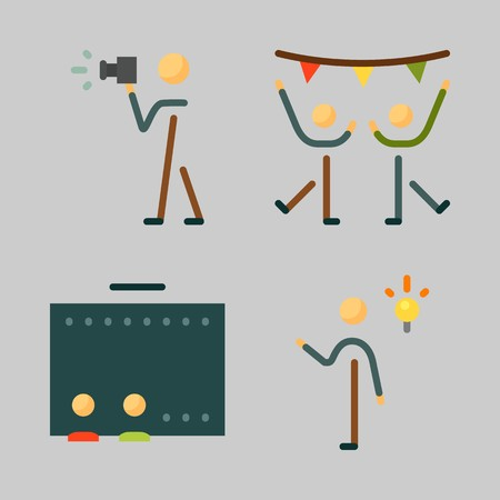 Icons set about Human with cinema, dancing, photographer, invention and dancer Ilustracja