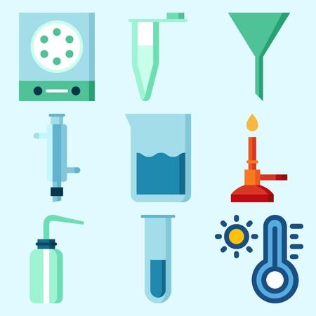 実験室、液体、温度計、デシケータ、測定および漏斗を落とす実験室についてのアイコン  イラスト・ベクター素材