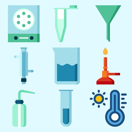 Icons set about Laboratory with lab, dropping liquid, thermometer, desiccator, measuring and funnel Illusztráció